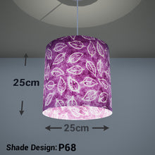 Drum Lamp Shade - P68 - Batik Leaf on Purple, 25cm x 25cm