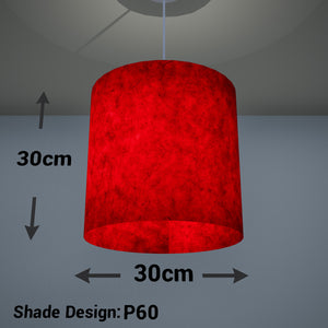 Drum Lamp Shade - P60 - Red Lokta, 30cm(d) x 30cm(h)