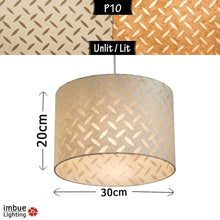 Drum Lamp Shade - P10 - Batik Tread Plate Natural, 30cm(d) x 20cm(h) - Imbue Lighting