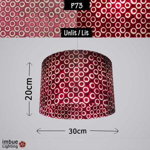 Drum Lamp Shade - P73 - Batik Cranberry Circles, 30cm(d) x 20cm(h)