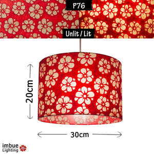 Drum Lamp Shade - P76 - Batik Star Flower Red, 30cm(d) x 20cm(h) - Imbue Lighting