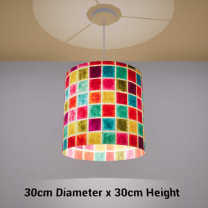 Drum Lamp Shade - P01 - Batik Multi Square, 30cm(d) x 30cm(h) - Imbue Lighting