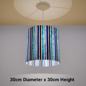 Drum Lamp Shade - P05 - Batik Stripes Blue, 30cm(d) x 30cm(h) - Imbue Lighting