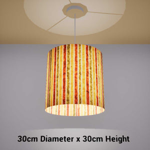 Drum Lamp Shade - P06 - Batik Stripes Autumn, 30cm(d) x 30cm(h) - Imbue Lighting