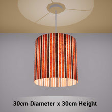 Drum Lamp Shade - P07 - Batik Stripes Brown, 30cm(d) x 30cm(h) - Imbue Lighting