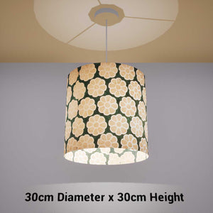 Drum Lamp Shade - P19 - Batik Big Flower on Green, 30cm(d) x 30cm(h) - Imbue Lighting