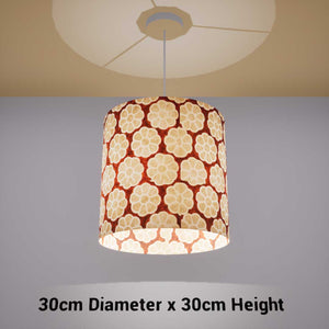 Drum Lamp Shade - P20 - Batik Big Flower on Brown, 30cm(d) x 30cm(h) - Imbue Lighting