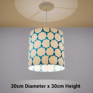 Drum Lamp Shade - P23 - Batik Big Flower on Teal, 30cm(d) x 30cm(h) - Imbue Lighting