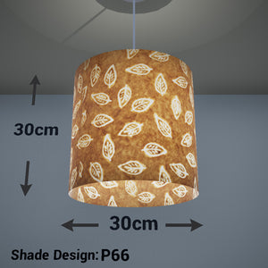 Drum Lamp Shade - P66 - Batik Leaf on Camel, 30cm(d) x 30cm(h) - Imbue Lighting