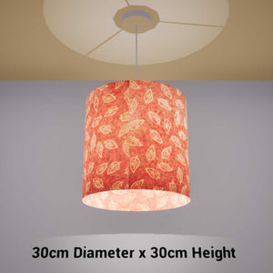 Drum Lamp Shade - P67 - Batik Leaf on Pink, 30cm(d) x 30cm(h) - Imbue Lighting