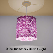 Drum Lamp Shade - P68 - Batik Leaf on Purple, 30cm(d) x 30cm(h) - Imbue Lighting