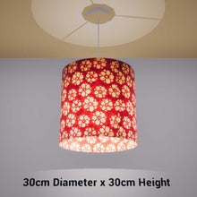 Drum Lamp Shade - P76 - Batik Star Flower Red, 30cm(d) x 30cm(h) - Imbue Lighting