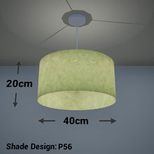 Drum Lamp Shade - P56 - Green Lokta , 40cm(d) x 20cm(h)