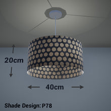 Drum Lamp Shade - P78 - Batik Dots on Grey, 40cm(d) x 20cm(h) - Imbue Lighting