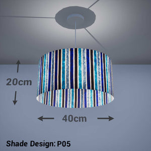 Drum Lamp Shade - P05 - Batik Stripes Blue, 40cm(d) x 20cm(h) - Imbue Lighting