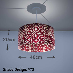 Drum Lamp Shade - P73 - Batik Cranberry Circles, 40cm(d) x 20cm(h)