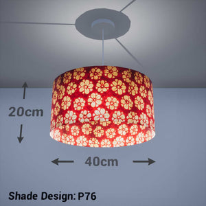 Drum Lamp Shade - P76 - Batik Star Flower Red, 40cm(d) x 20cm(h) - Imbue Lighting
