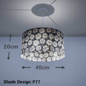 Drum Lamp Shade - P77 - Batik Star Flower Grey, 40cm(d) x 20cm(h) - Imbue Lighting