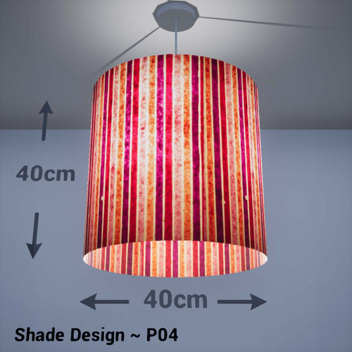 Drum Lamp Shade - P04 - Batik Stripes Pink, 40cm(d) x 40cm(h) - Imbue Lighting
