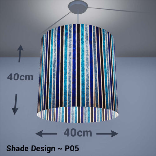 Drum Lamp Shade - P05 - Batik Stripes Blue, 40cm(d) x 40cm(h) - Imbue Lighting