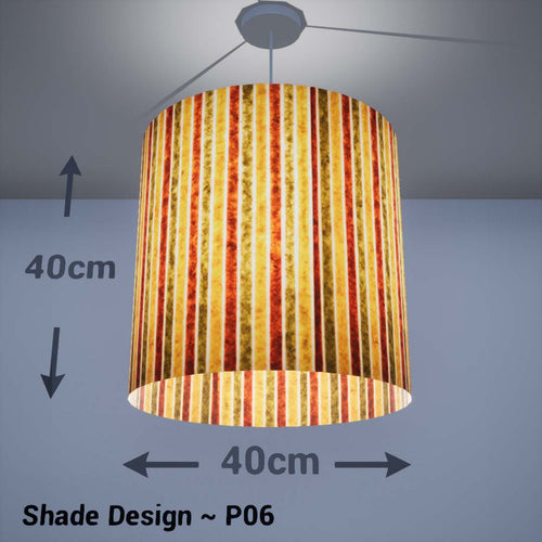 Drum Lamp Shade - P06 - Batik Stripes Autumn, 40cm(d) x 40cm(h) - Imbue Lighting