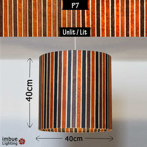 Drum Lamp Shade - P07 - Batik Stripes Brown, 40cm(d) x 40cm(h) - Imbue Lighting