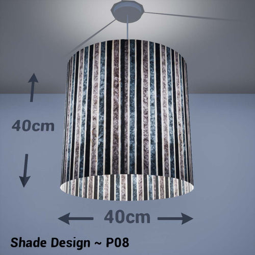 Drum Lamp Shade - P08 - Batik Stripes Grey, 40cm(d) x 40cm(h) - Imbue Lighting