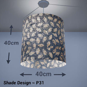Drum Lamp Shade - P31 - Batik Leaf on Blue, 40cm(d) x 40cm(h) - Imbue Lighting