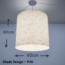 Drum Lamp Shade - P40 - Gold Fish Screen Print on Natural Lokta, 40cm(d) x 40cm(h) - Imbue Lighting