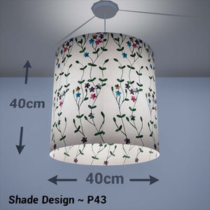 Drum Lamp Shade - P43 - Embroidered Flowers on White, 40cm(d) x 40cm(h) - Imbue Lighting