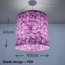Drum Lamp Shade - P68 - Batik Leaf on Purple, 40cm(d) x 40cm(h) - Imbue Lighting