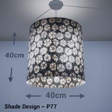 Drum Lamp Shade - P77 - Batik Star Flower Grey, 40cm(d) x 40cm(h) - Imbue Lighting