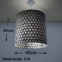 Drum Lamp Shade - P78 - Batik Dots on Grey, 40cm(d) x 40cm(h) - Imbue Lighting