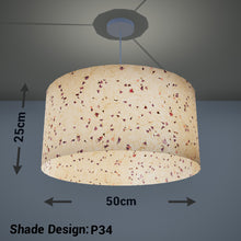 Drum Lamp Shade - P34 - Cornflower Petals on Natural Lokta, 50cm(d) x 25cm(h)