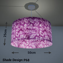 Drum Lamp Shade - P68 - Batik Leaf on Purple, 50cm(d) x 25cm(h)