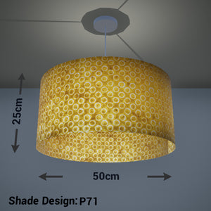 Drum Lamp Shade - P71 - Batik Yellow Circles, 50cm(d) x 25cm(h)