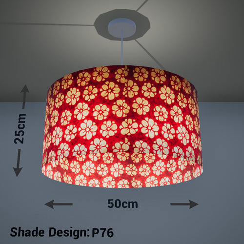 Drum Lamp Shade - P76 - Batik Star Flower Red, 50cm(d) x 25cm(h)