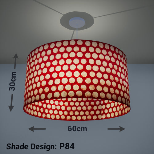 Drum Lamp Shade - P84 ~ Batik Dots on Red, 60cm(d) x 30cm(h)