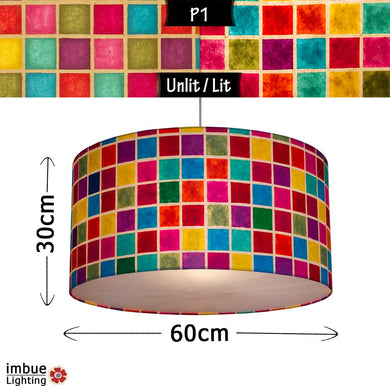 Drum Lamp Shade - P01 - Batik Multi Square, 60cm(d) x 30cm(h) - Imbue Lighting