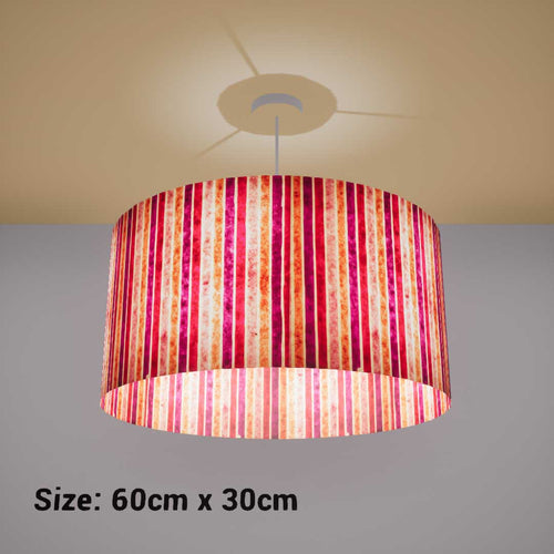 Drum Lamp Shade - P04 - Batik Stripes Pink, 60cm(d) x 30cm(h) - Imbue Lighting