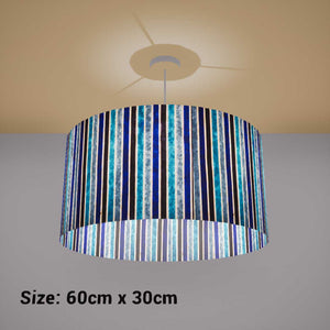 Drum Lamp Shade - P05 - Batik Stripes Blue, 60cm(d) x 30cm(h) - Imbue Lighting