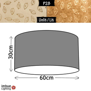 Drum Lamp Shade - P28 - Batik Leaf on Natural, 60cm(d) x 30cm(h) - Imbue Lighting
