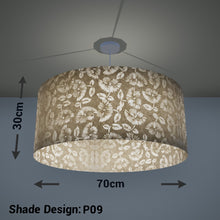 Drum Lamp Shade - P09 - Batik Peony on Natural, 70cm(d) x 30cm(h) - Imbue Lighting