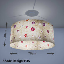 Drum Lamp Shade - P35 - Batik Multi Flower on Natural, 70cm(d) x 30cm(h) - Imbue Lighting