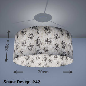 Drum Lamp Shade - P42 - Bees Screen Print on Natural Lokta, 70cm(d) x 30cm(h) - Imbue Lighting