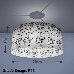 Drum Lamp Shade - P43 - Embroidered Flowers on White, 70cm(d) x 30cm(h) - Imbue Lighting