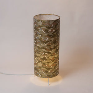Free Standing Table Lamp Small - W03 - Gold Waves on Grey Screen Printed Washi