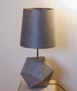 Icosahedron Grey Table Lamp with a Grey French Drum Lamp Shade
