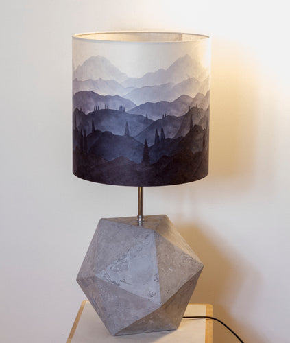Icosahedron Grey Table Lamp with a Ink Sketch French Drum Lamp Shade