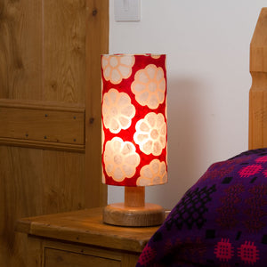 Round Oak Table Lamp (15cm) with 15cm x 30cm Lamp Shade in Batik Big Flowers Red P18
